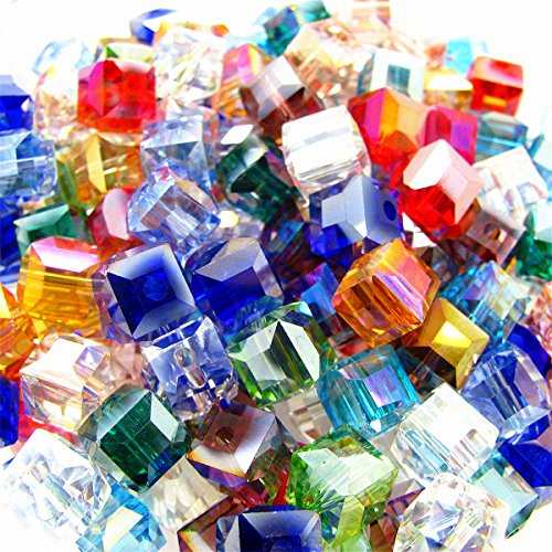 200pcs 4mm Square Cube Crystal Beads Synthetic Crystal Beads Mix Color (Mix Bead Glass)