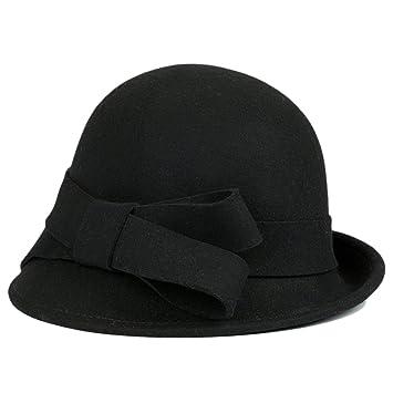 Mujer Sombrero Hongo Gorra Bombín Curvada Bowler Hat Sombrero Cap Gorra  Boinas Negro 781a9051d5a