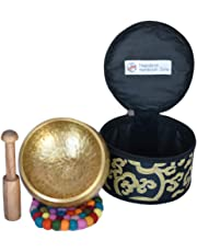"Singing Bowl Tibetan Meditation and Mallet Yoga Healing Buddhist Brass 4"" Set by Nepalese Handicraft Zone"