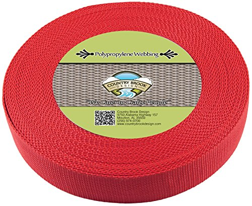 Country Brook Design 1 1/2 Inch Red Heavy Polypro Webbing, 25 Yards by Country Brook Design