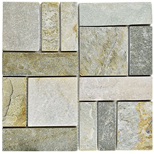 SomerTile SCRPTQA Cliff Patchwork Arizona Quartzite Natural Stone Mosaic Floor and Wall Tile, 12'' x 12'', Grey/Brown/Beige/Orange by SOMERTILE (Image #1)