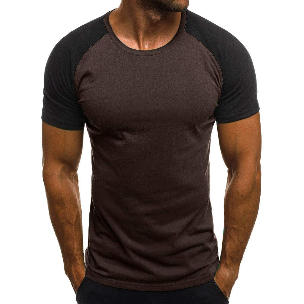 Allywit-Mens Patchwork Shirt Short Sleeve Contrast Color T-Shirt Casual Stitching Buttons Henley Brown