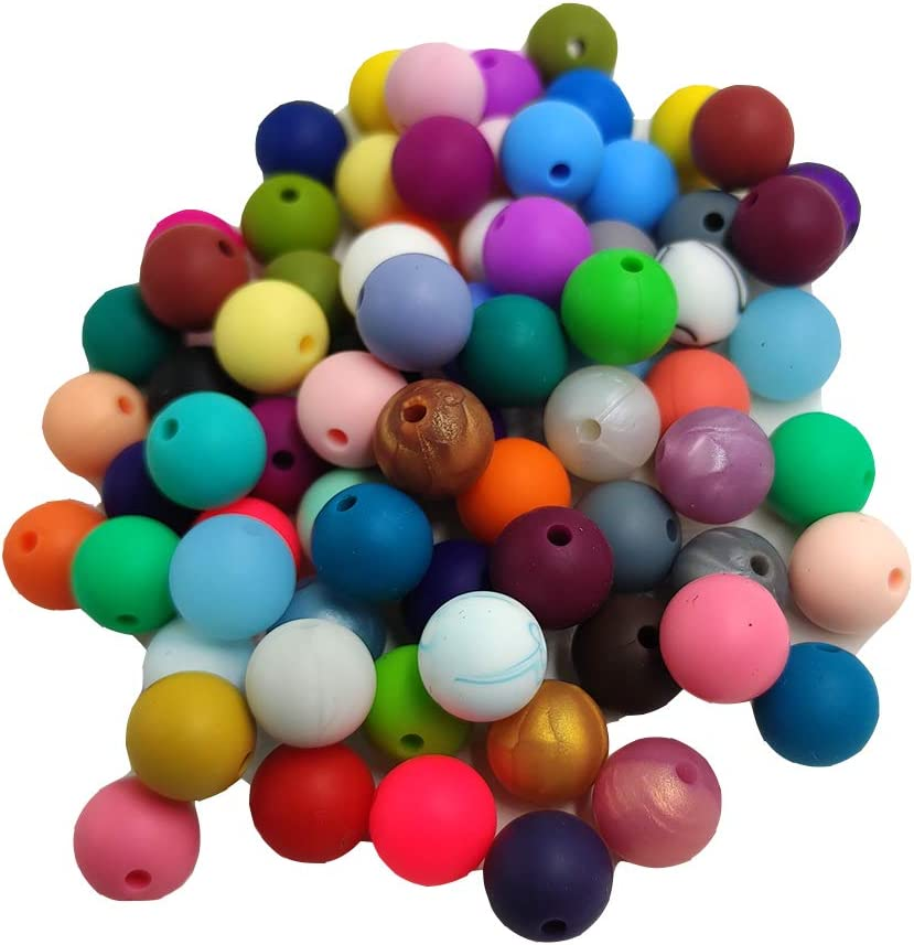 200pcs 12mm Silicone Round Beads Shaped Silicone Pearl Beads Chewable Stretchy Beads DIY Jewelry Nursing Necklace Craft