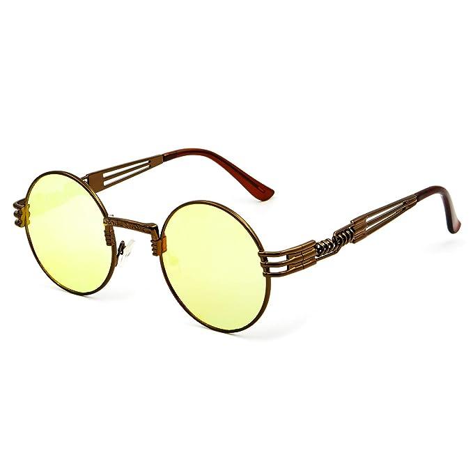 2bc924d6e89b Leckirut Men Women Steampunk Sunglasses Lennon Round Vintage Circle Glasses  Metal Frame Mirror Lens brown frame