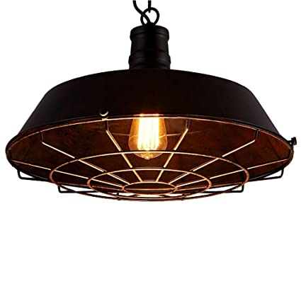 Amazon huahan extension vintage industrial wire metal black huahan extension vintage industrial wire metal black iron shade cage adjustable chain ceiling lamp pendant light aloadofball Choice Image