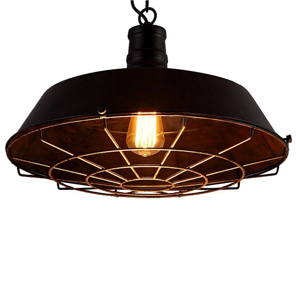 Vintage Industrial Wire Metal Black Iron Shade Cage Adjustable Chain Ceiling Lamp Pendant Light Outdoor Lighting Warehouse/Barn