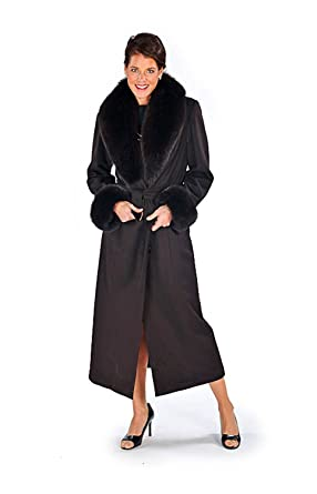 7157955bb8c Madison Avenue Mall Plus Size Long Cashmere Coat Women Fox Fur Collar Cuff  Brown 18