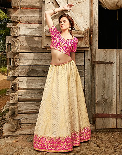 DesiButik's Wedding Wear Pleasant Beige Brocade Lehenga by DesiButik (Image #2)