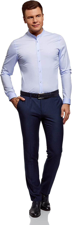 EU 37 IT 40 XXS oodji Ultra Uomo Camicia Silm Fit con Collo alla Coreana Blu 37cm