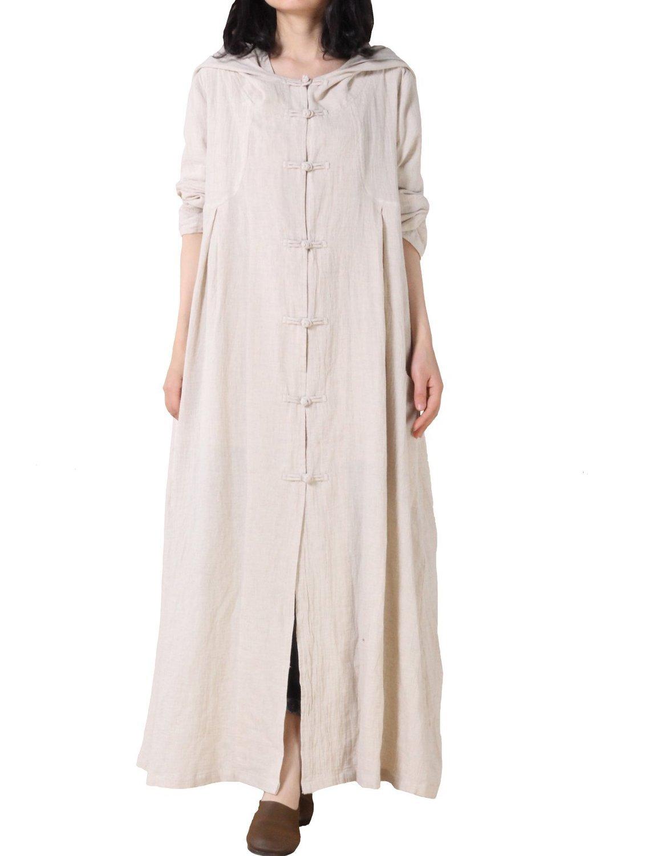 Minibee Women's Cotton Linen Button Detail Print Hood Coat Style 4 Beige,One Size