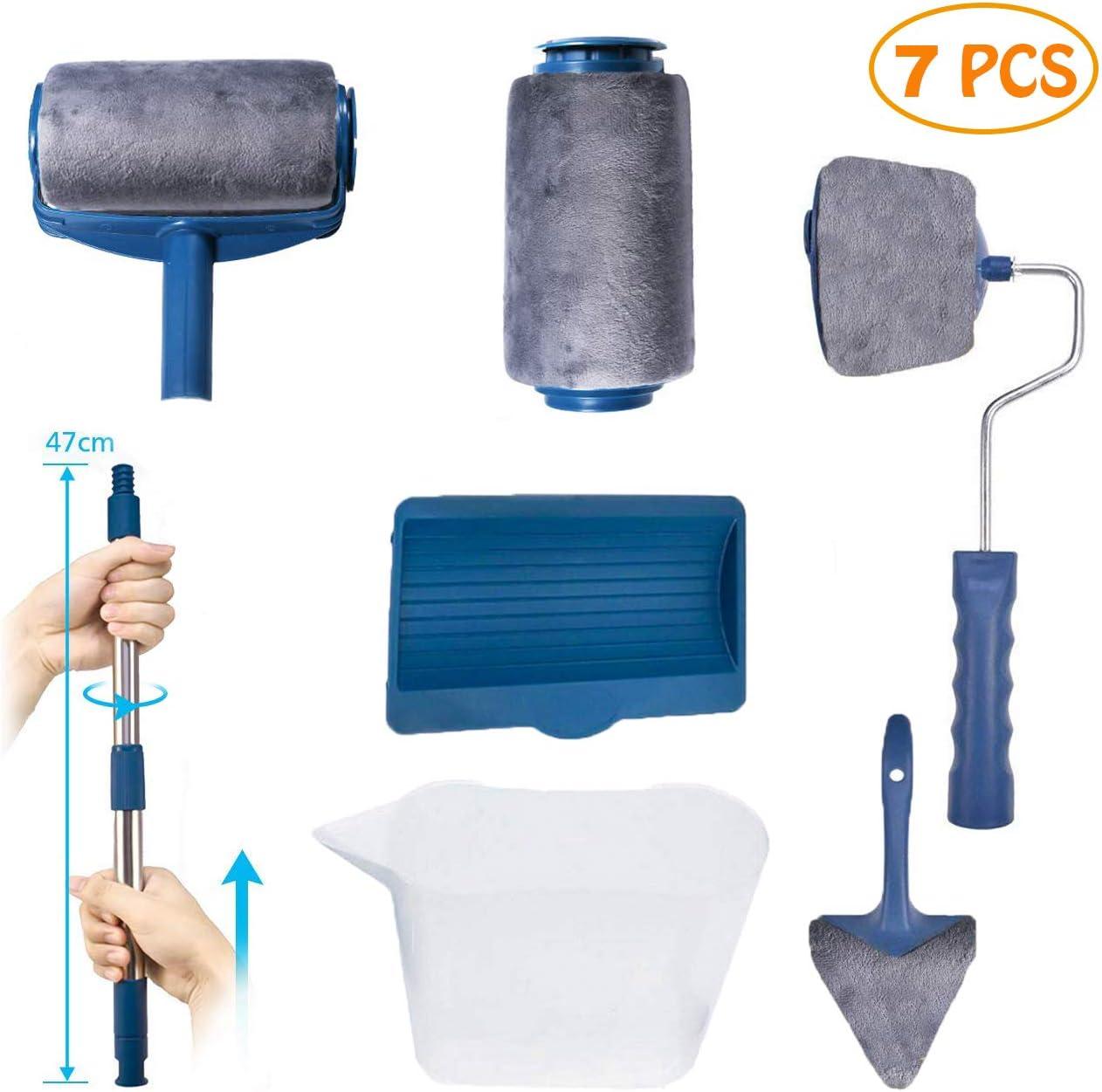 Paint Roller Brush Kit, 7pcs Roller Paint Brush Foam Set, Multifunctional House Paint Roller Brush Kit for House, Office & Ceiling Painting Paint Roller Quick & Easy Paint Runner Set