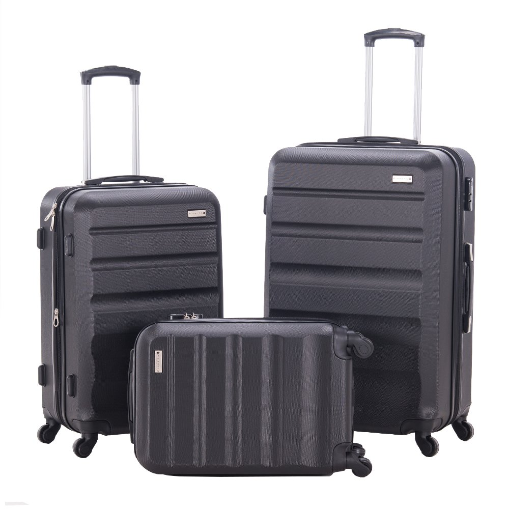 Luggage Set Expandable 3 Piece Suitcase Spinner Hardshell Lightweight ABS Travel Trolley Case(3 Piece Set, 28inch + 24inch + 20inch Cabin Size Carry On) (BLACK)