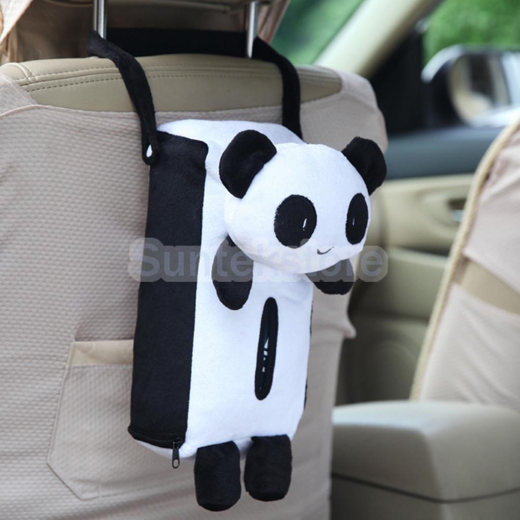 MAZIMARK-Cute Animal Soft Plush Panda Paper Napkin Tissue Box Cover Car Home Decor