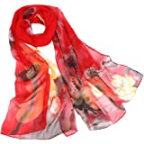 iYBUIA Fashion Elegant designWomen Lotus Printing Long Soft Wrap Scarf Ladies Shawl Scarves