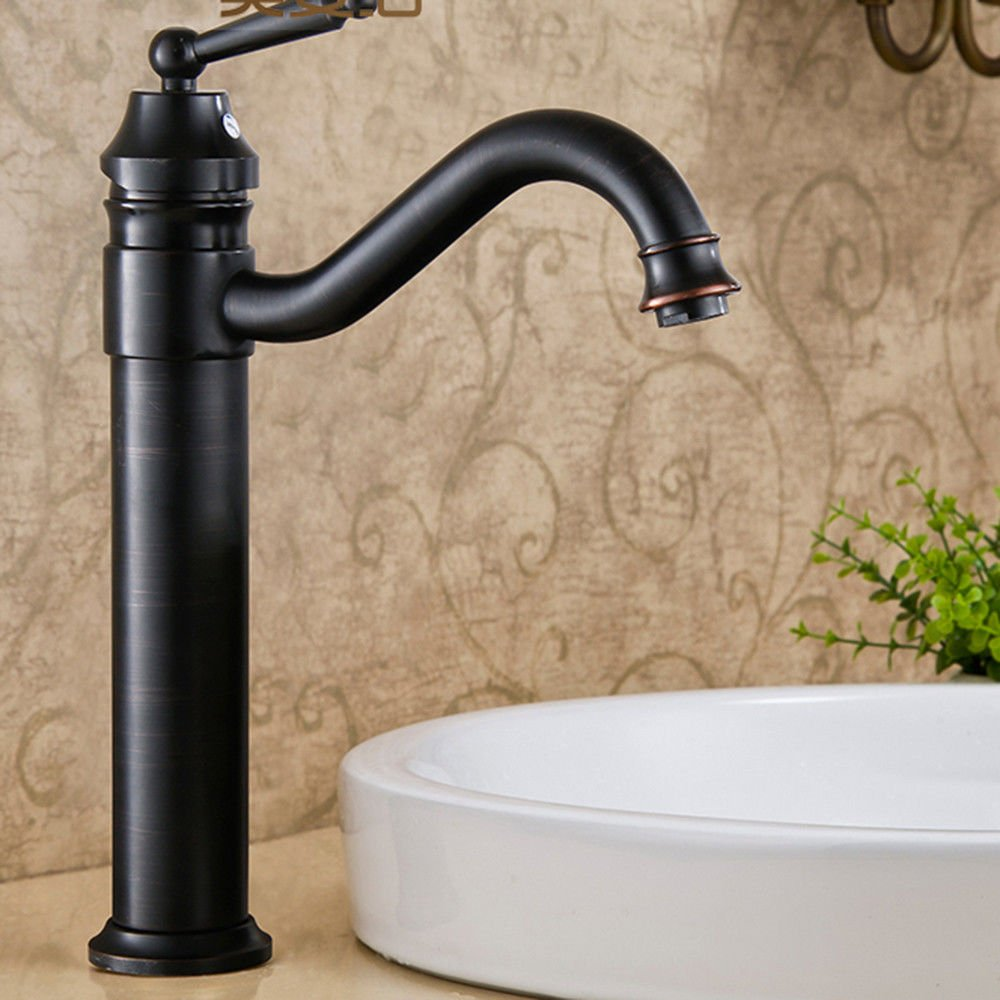 Black Ancient High Lpophy Bathroom Sink Mixer Taps Faucet Bath Waterfall Cold and Hot Water Tap for Washroom Bathroom and Kitchen Copper Antique Hot and Cold Single Hole Retro Black Bronze High