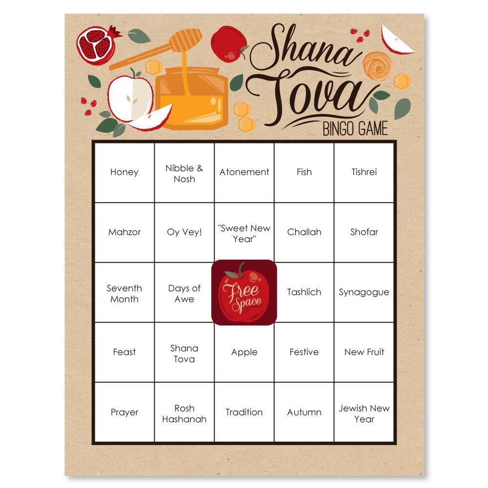 Jewish New Year Game Bingo Cards Big Dot of Happiness Rosh Hashanah 16 Count