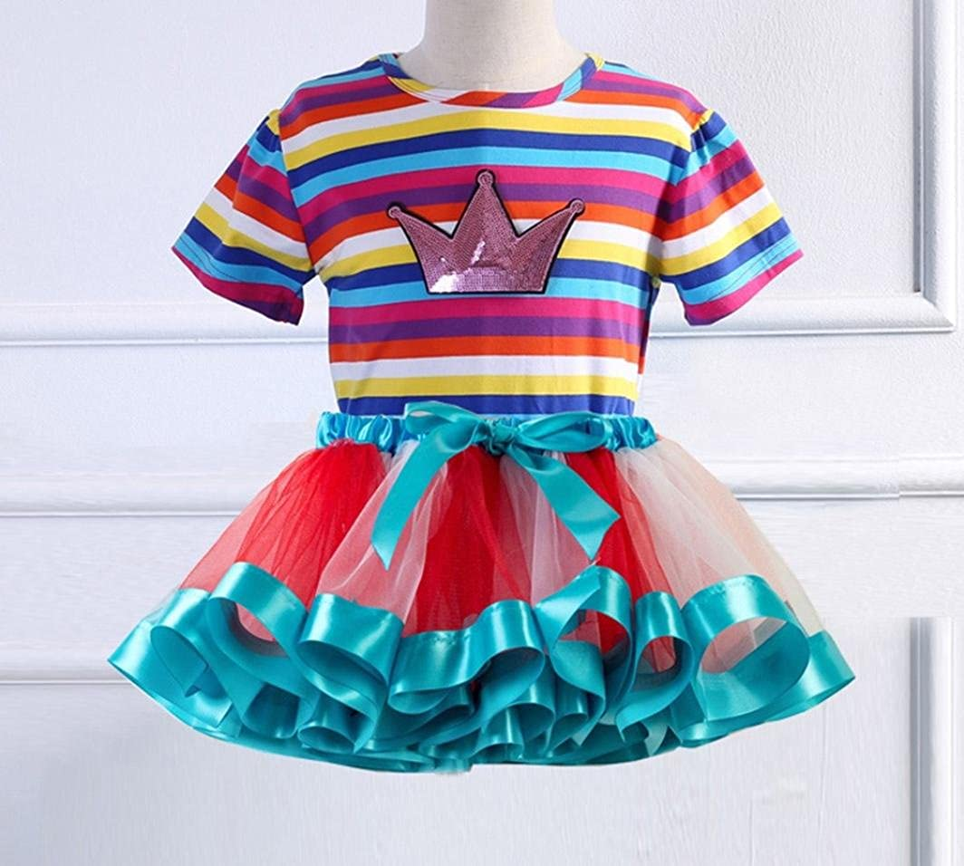 Kids Girls Rainbow Stripe Print Short Sleeve Tops+Tulle Tutu Party Dress Outfits WARMSHOP 2 PC Baby Skirt Set