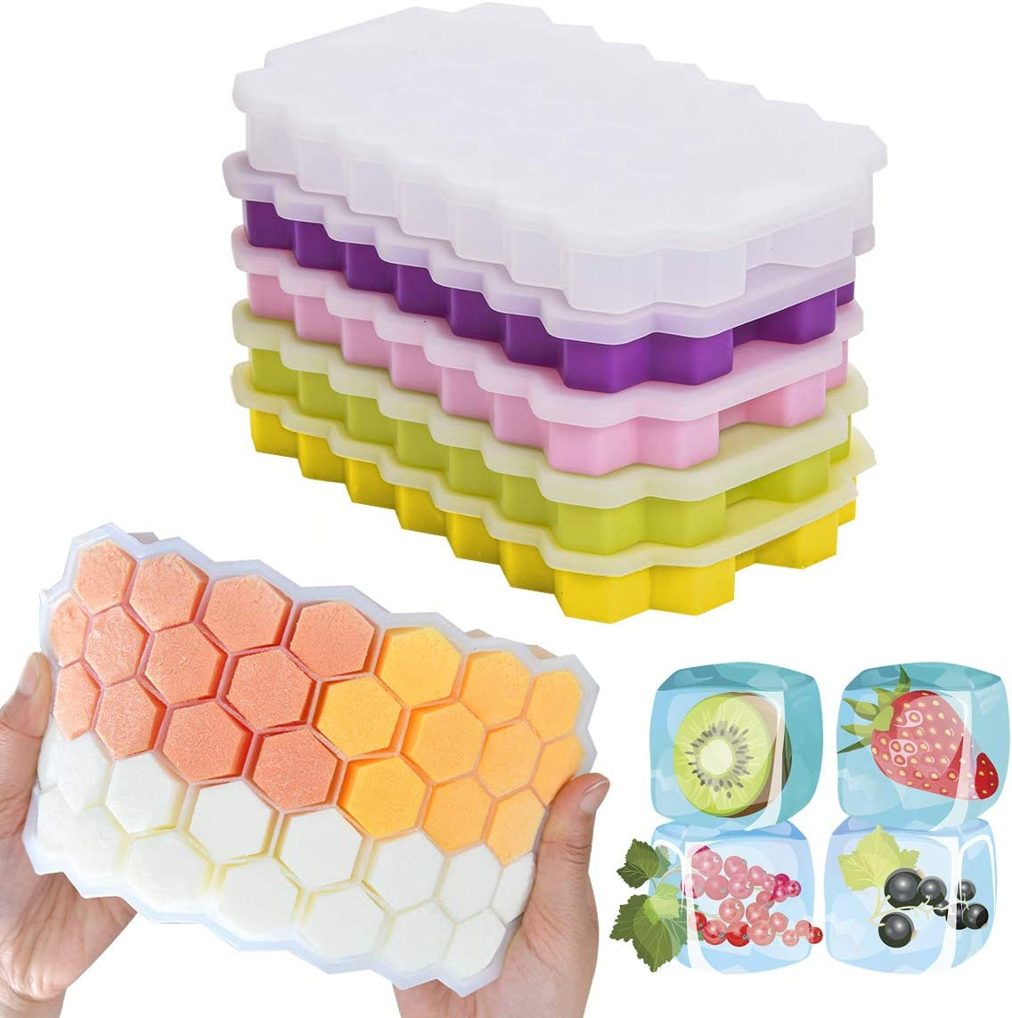 Loistu Ice Cube Trays, 5 Pack of Ice Trays with Lid, BPA Free, for Cocktail, Whiskey, Baby Food, Chocolate, Stackable and Durable