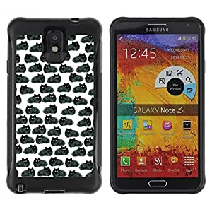 "Hypernova Defender Series TPU protection Cas Case Coque pour SAMSUNG Galaxy Note 3 III / N9000 / N9005 [Dibujo Negro Gatos Wallpaper""]"