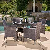 Great Deal Furniture Clementine Outdoor Multibrown Wicker 5pc Dining Set Review