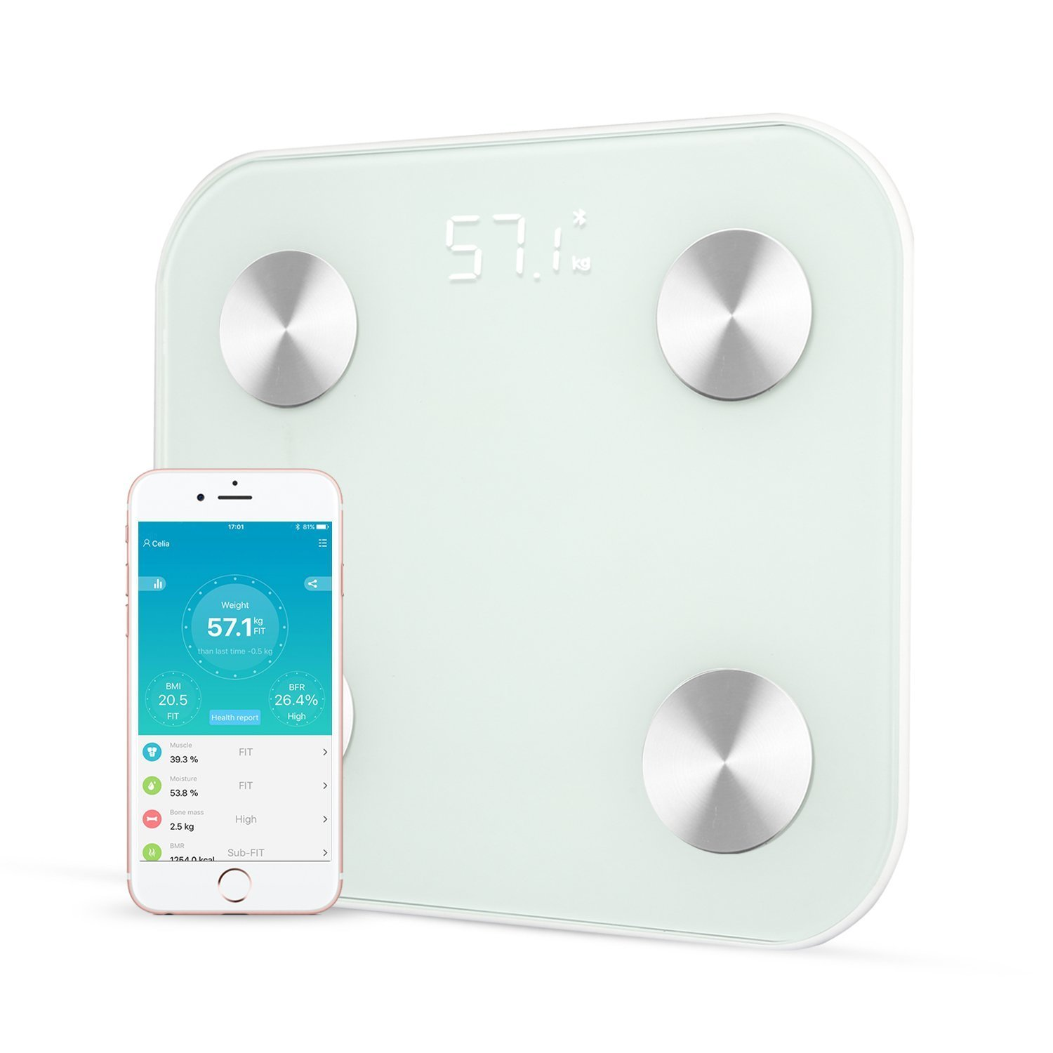 Qingta Bluetooth Smart Body Fat Scale Monitor Body Fat,Scale Body Fat,Total Body Water,Muscle Mass and Bone Mass for Your Family(White)