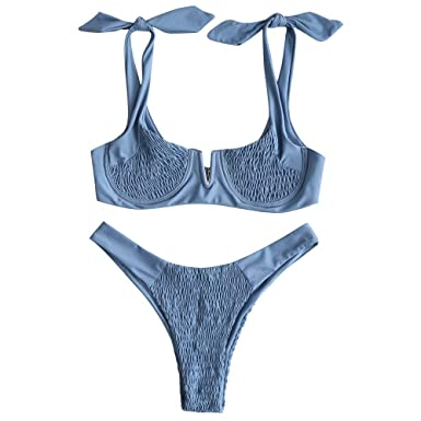 14ad68e778317 ZAFUL Women s Shirred Tie Shoulder Underwire High Cut Two Piece Bikini Set  (Blue
