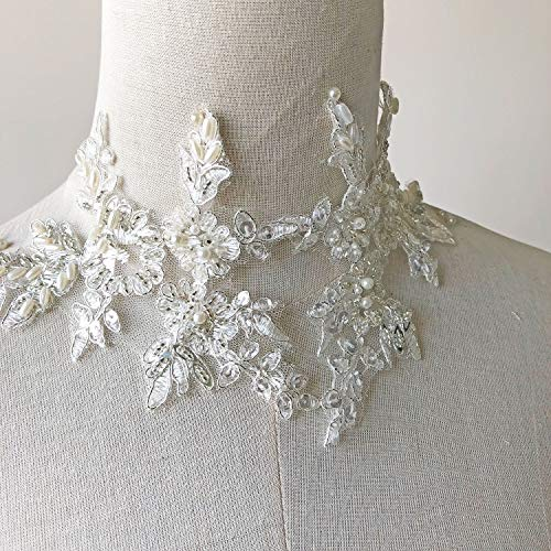 (Off White Sequined Beaded Lace Applique Floral Embrodiery Silver Corded Patches Sew on Veiling Dress Dance Costume 1 Pair)