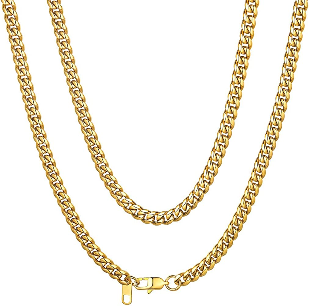 ChainsHouse 3-13mm Figaro Chain Necklace Stainless Steel//18K Gold Plated Figaro Link Chain for Men Women 18-30 Fashion Jewelry