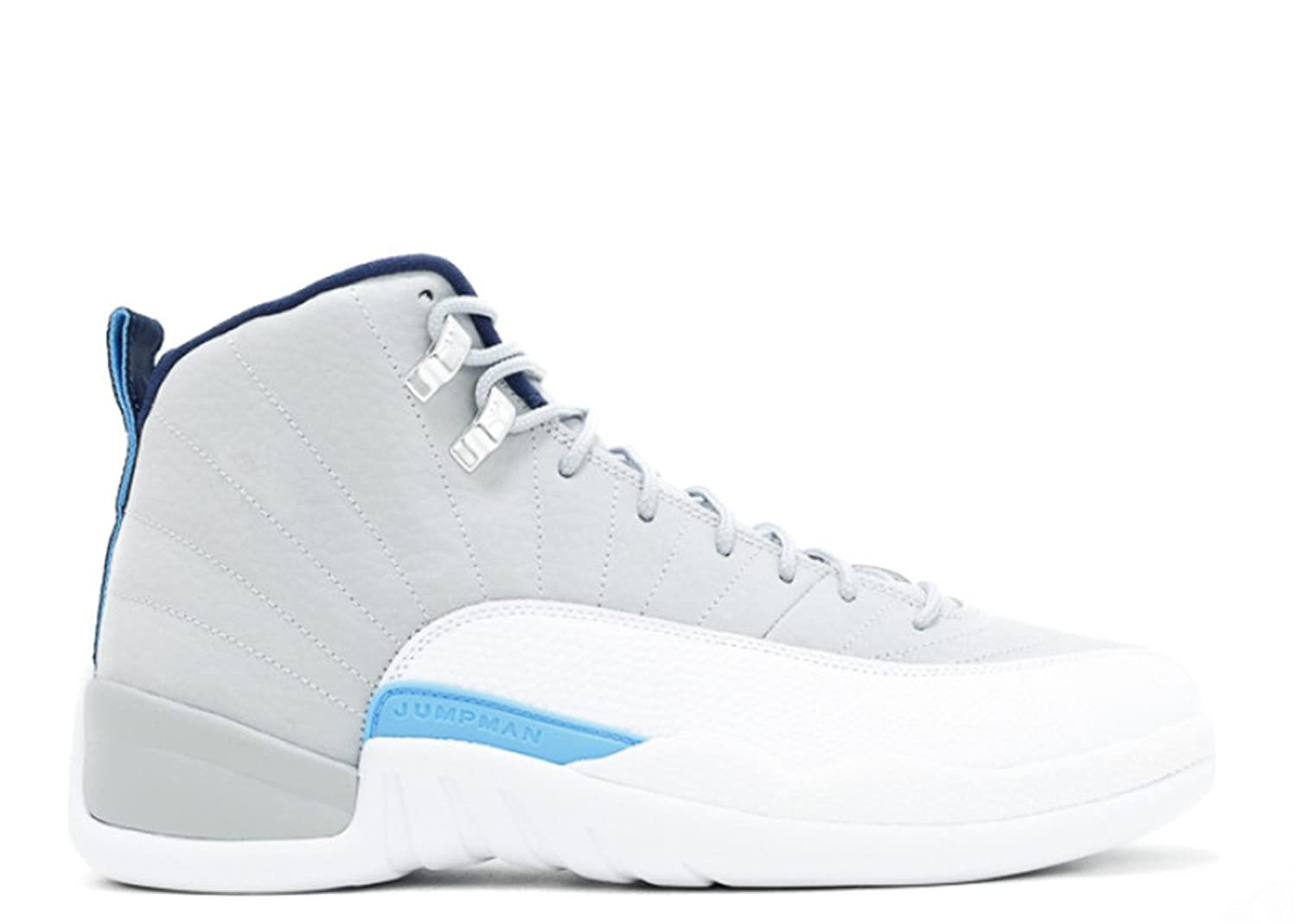 2017 Nike AIR JORDAN 12 RETRO UNC Wolf Grey University Blue-White-Midnight Mens Basketball Shoe