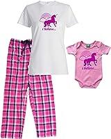 I Believe in Unicorns and Rainbows Pink Mommy Pajamas - Matching Baby Onesie