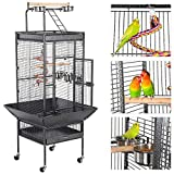 Yaheetech 61-inch Rolling Wrought Iron Large Bird Cages for Small Quaker African Grey Amazon Parrots Cockatiels Sun Parakeets Green Cheek Conures Doves Lovebirds Budgies Play Top Bird Cage with Stand Larger Image