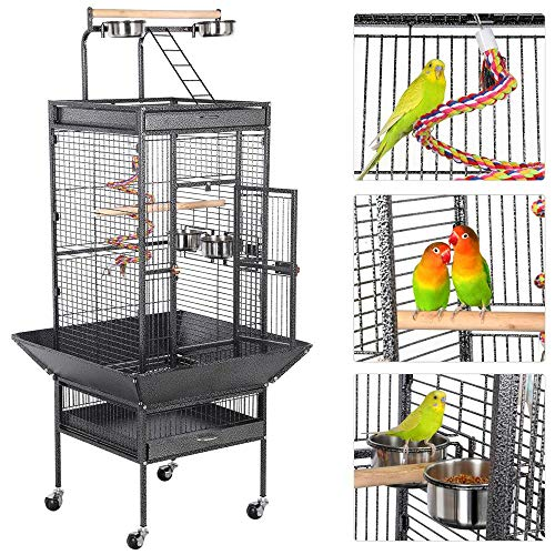 Yaheetech Rolling Wrought Iron Select Large Bird Cages for Small Parrots Cockatiels Sun Parakeets Green Cheek Conures Lovebirds Budgies Finches Canary Parrotlets Play Top Bird Cage with Stand, Black