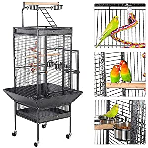 Yaheetech 61-inch Playtop Wrought Iron Large Parrot Bird Cages with Rolling Stand for Cockatiels Amazon Parrot Quaker Conure Parakeet Lovebird Finch Canary Small Medium Parrot Cage Birdcage, Black 4