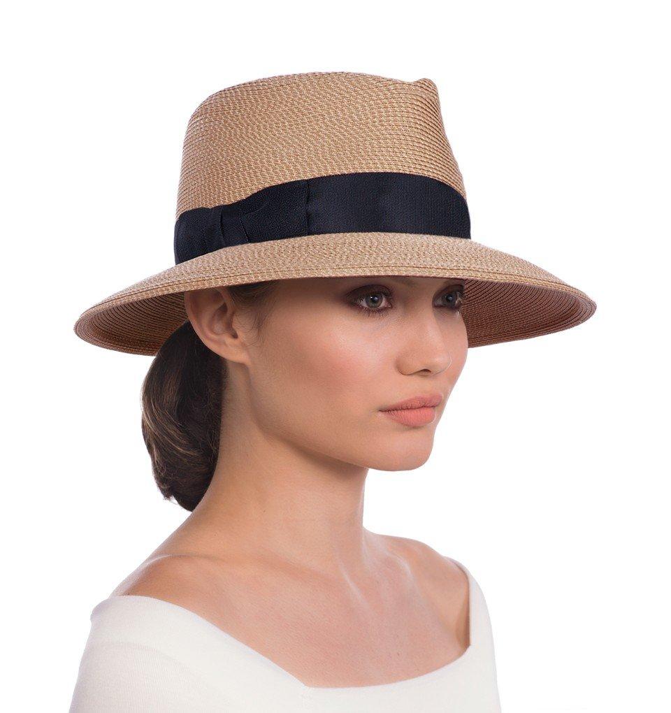 Eric Javits Luxury Fashion Designer Women's Headwear Hat - Phoenix - Natural/Black by Eric Javits