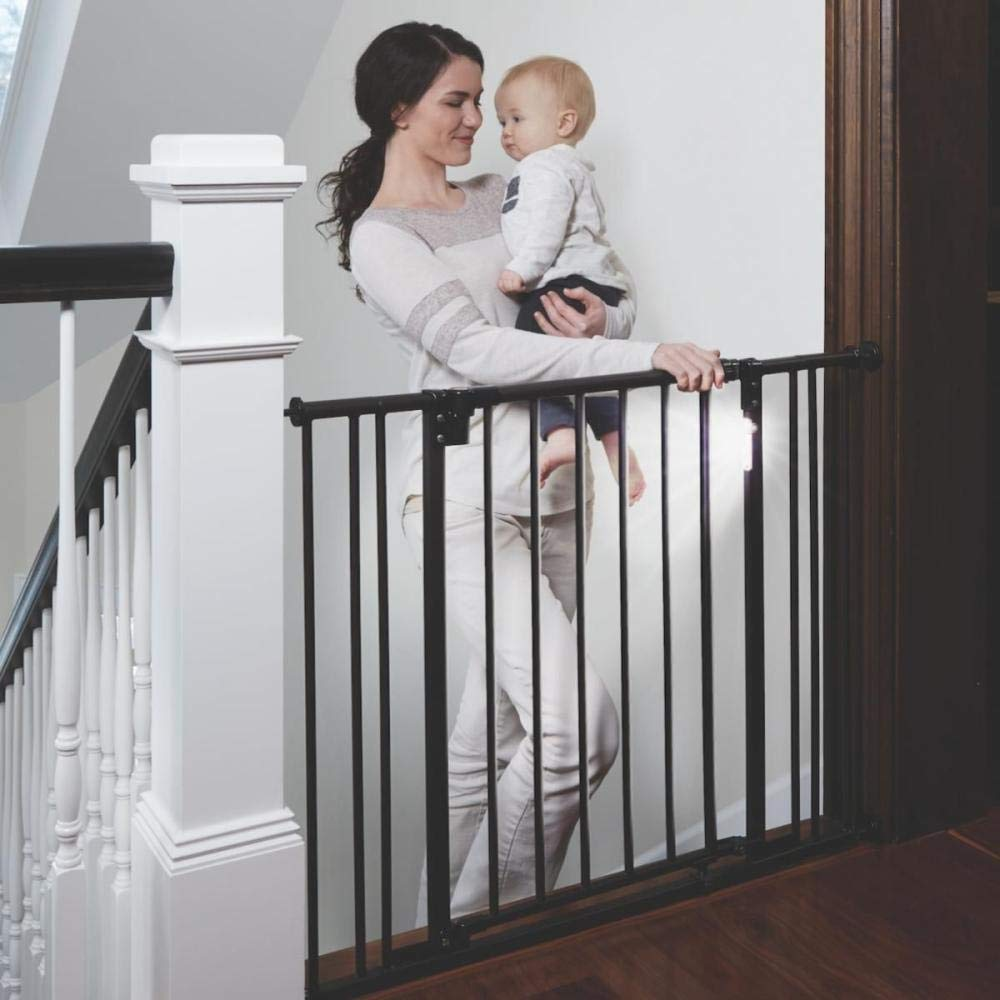 """Toddleroo by North States 38.25"""" wide Light The Way Baby Gate: Sturdy Metal gate with Light Sensing LED for Added Safety. Pressure or Hardware Mount. Fits 28.75""""-38.25"""" Wide (29.3"""" Tall, Matte Bronze)"""