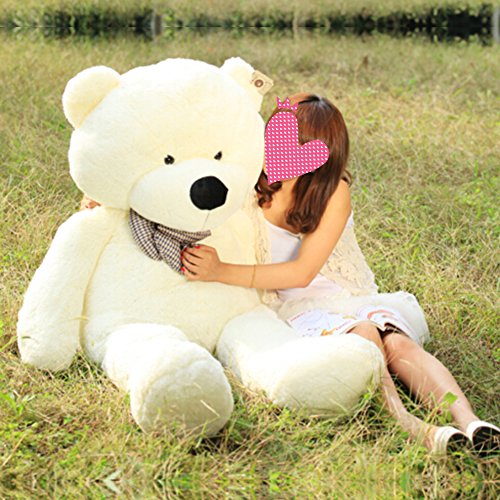 (VERCART 4 Foot 47 inch White Color Giant Huge Cuddly Stuffed Animals Plush Teddy Bear Toy)