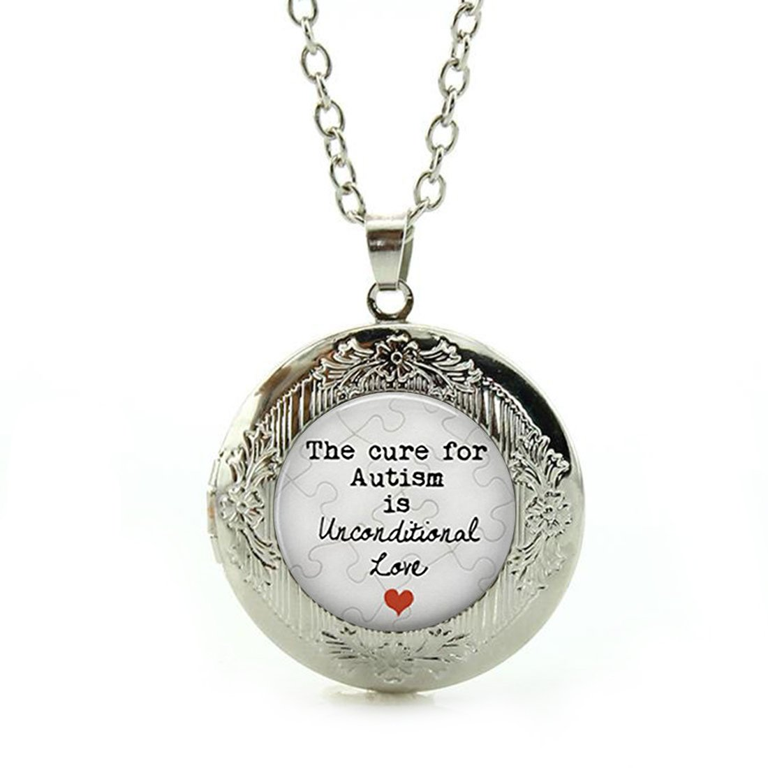 Women's Custom Locket Closure Pendant Necklace The Cure For Autism Is Unconditional Love Quote Included Free Silver Chain, Best Gift Set