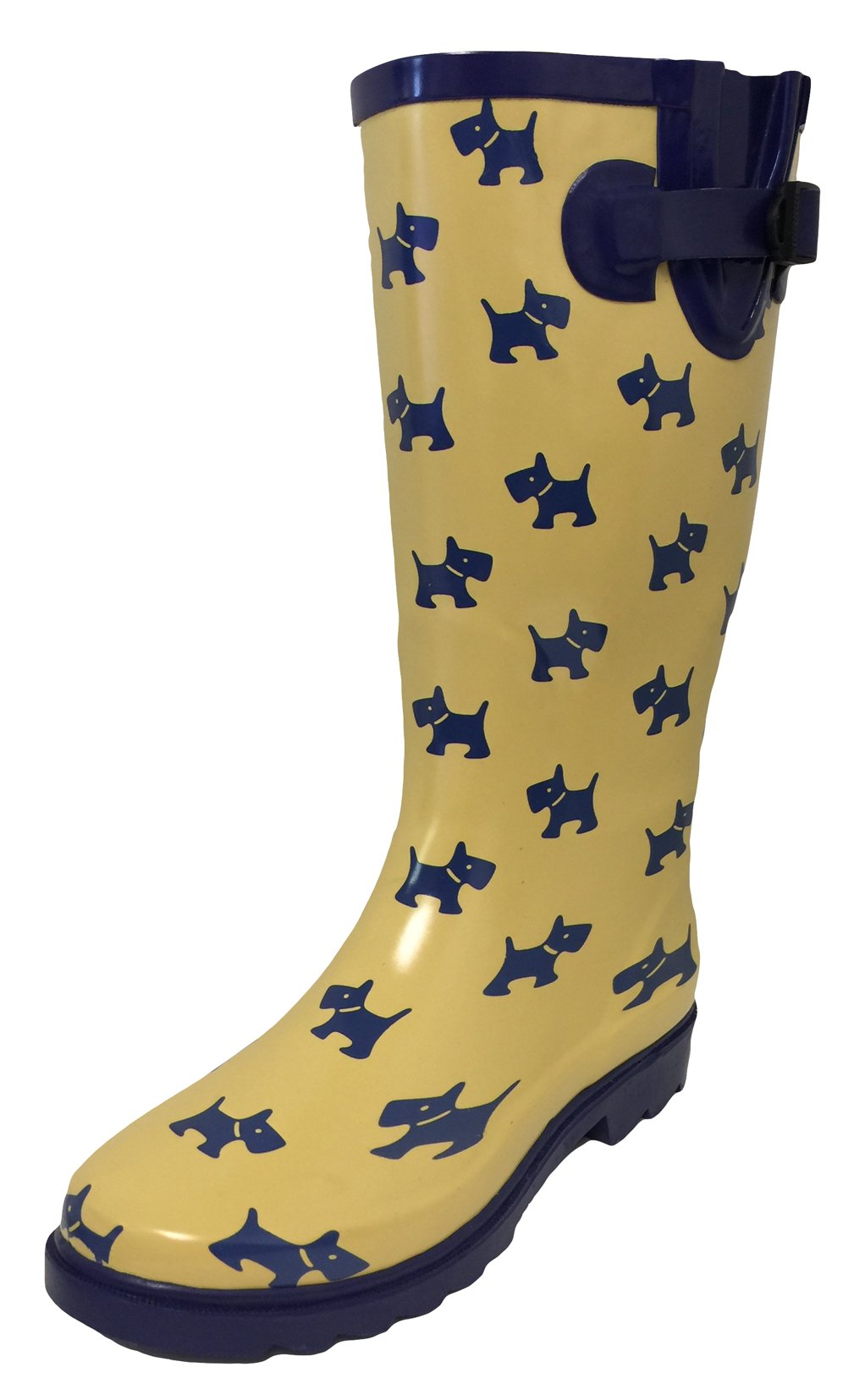 G4U Women's Rain Boots Multiple Styles Color Mid Calf Wellies Buckle Fashion Rubber Knee High Snow Shoes (9 B(M) US, Yellow/Puppies)