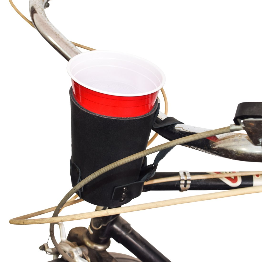 Cruzy Kuzy Thick Leather Bike Cup Holder Handmade by Hide & Drink :: Charcoal Black