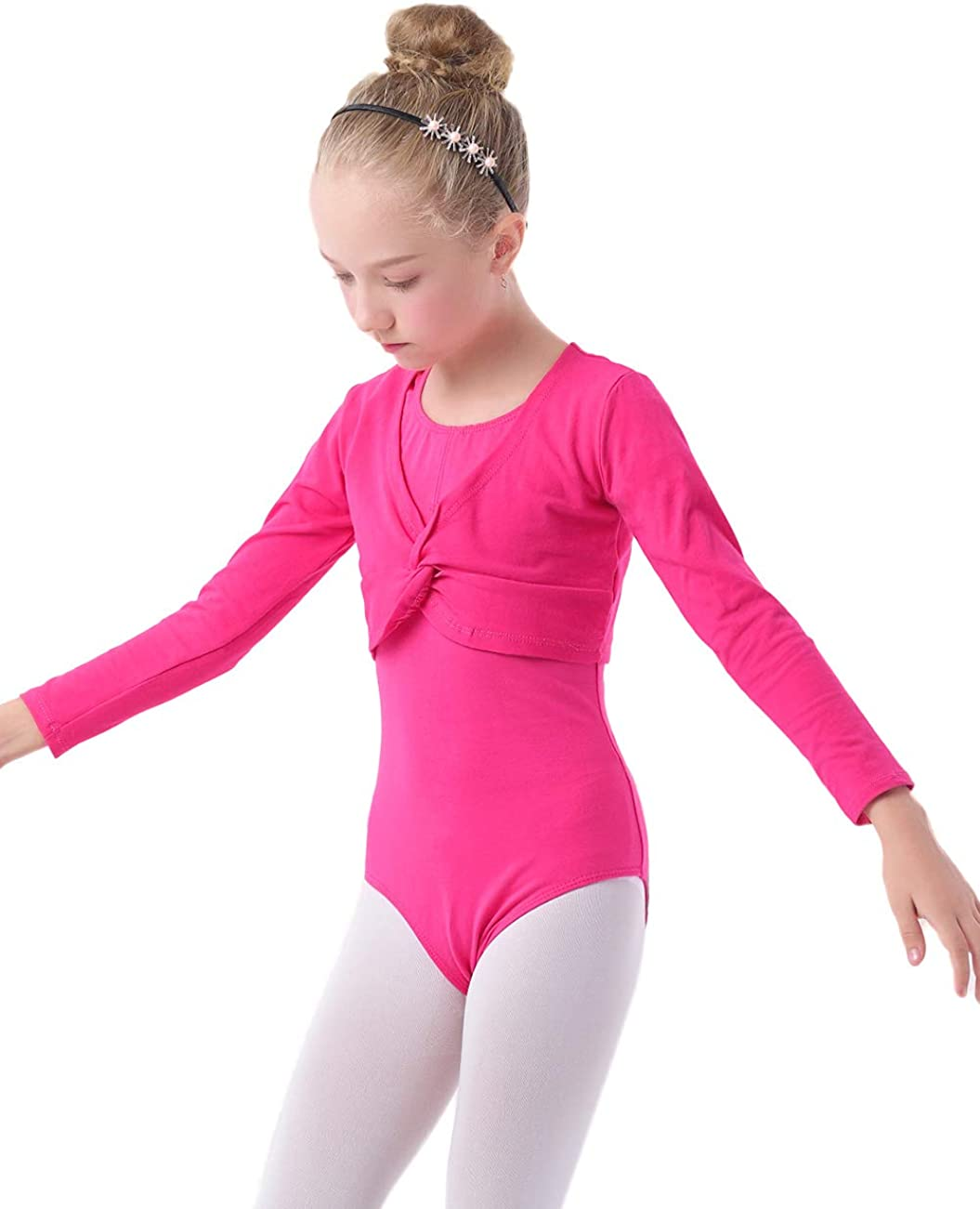 Daydance Girls Dance Crop Tops Ballet Wrap Shrug Sweater Long Sleeve