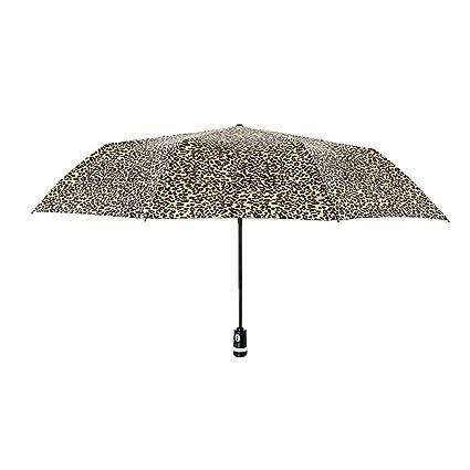Paraguas Leopardo Grano 10 Huesos Resistencia al Viento Viaje Auto Abrir Cerrar Gran Doble Mango Antideslizante