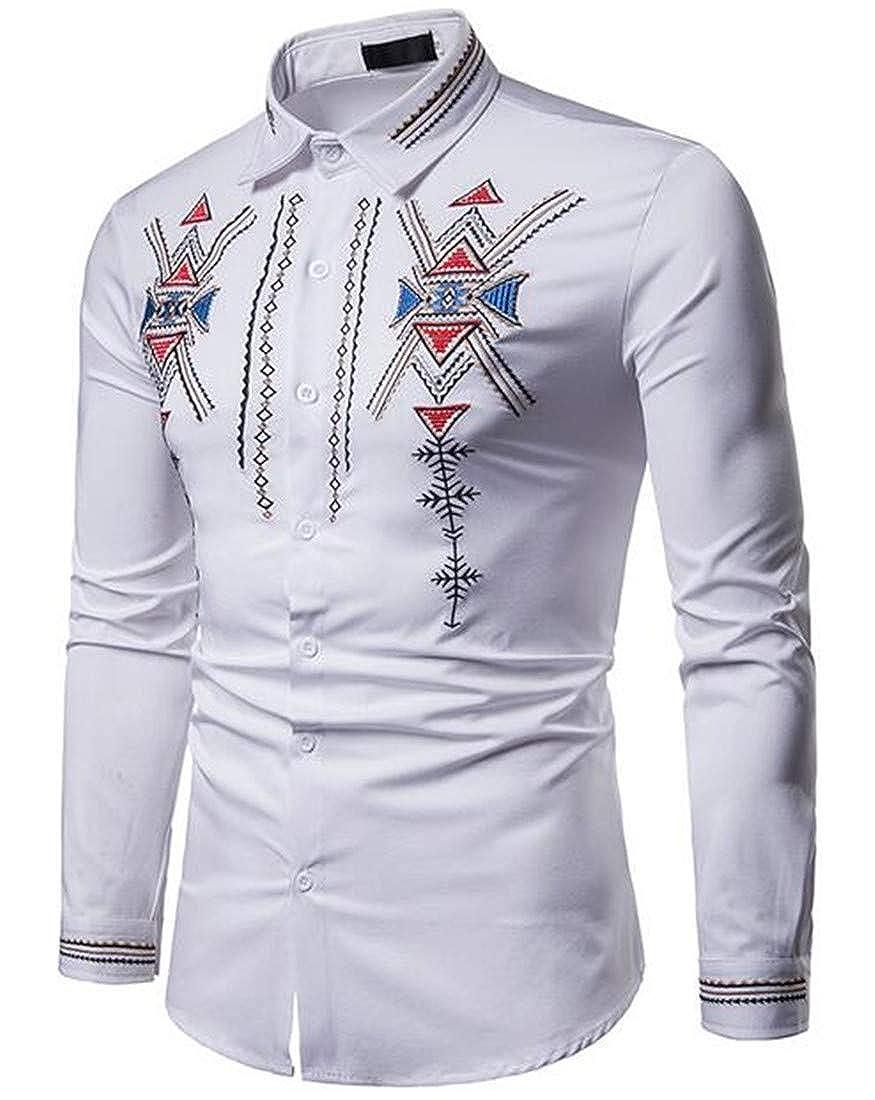 Nanquan Men Classic Stylish Print Over Sized Long Sleeve Button Down Casual Shirt