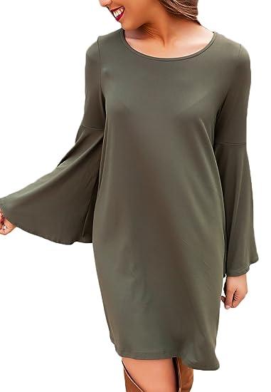 ... Trompeta Manga Casuales Mujeres Vestidos Camiseros Mini Vestido Cuello Redondo Color Sólido Anchos Vestido Verde Oscuro: Amazon.es: Ropa y accesorios
