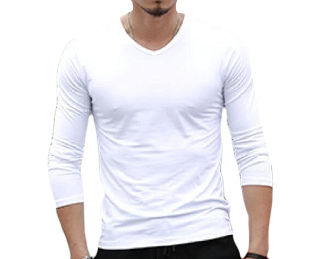 cheese Men Long Sleeve V-Neck Pure Color Casual Tops Blouse T-Shirt