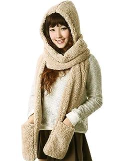 726e2f0d59b Bellady Soft Winter Warm Hooded Scarf Headscarf Neckwarmer Hoodie ...