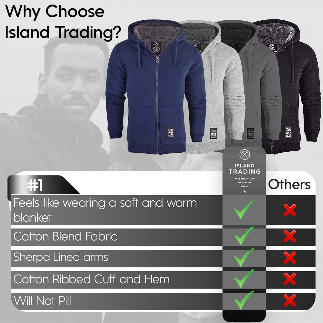 Island Trading Mens Cotton Padded Borg Fleece Sherpa Lined Full Zip Up Hoodie Sweatshirt Jacket