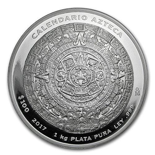 (2017 MX Mexico 1 kilo Silver Aztec Calendar (w/Box & COA) Silver Brilliant Uncirculated)