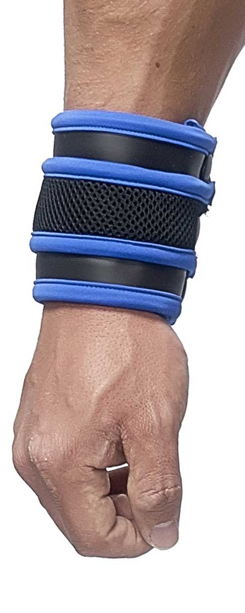 Mister B Neoprene Wrist Wallet, Black/Blue