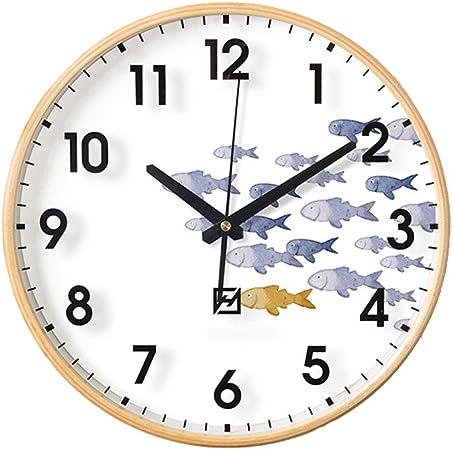 reloj de pared Estilo nórdico pequeño patrón de Pescado niño