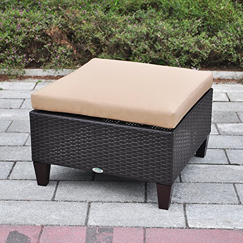 Outdoor Patio Wicker Ottoman Seat with Cushion, All Weather Resistant Foot Rest Stool Coffee Table, Easy to Assemble (Brown)